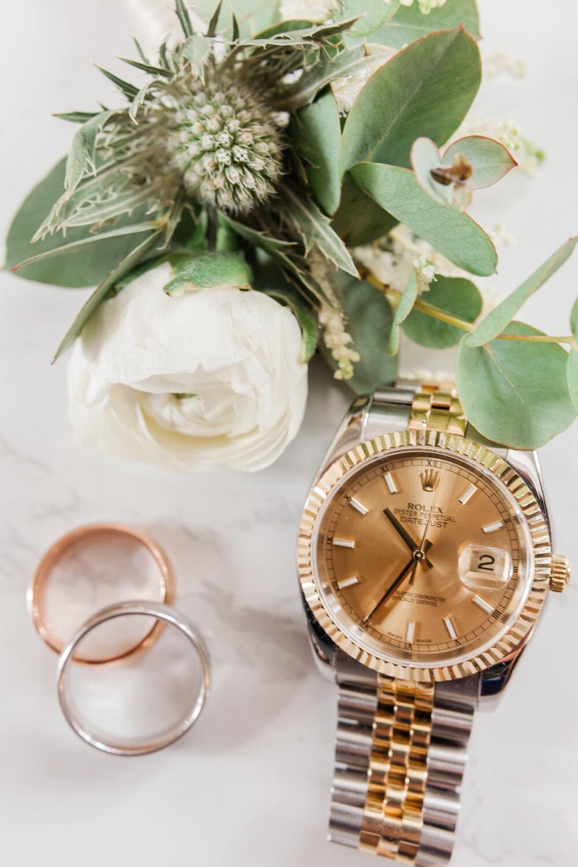 Groom wedding details, Rolex watch with platinum bands