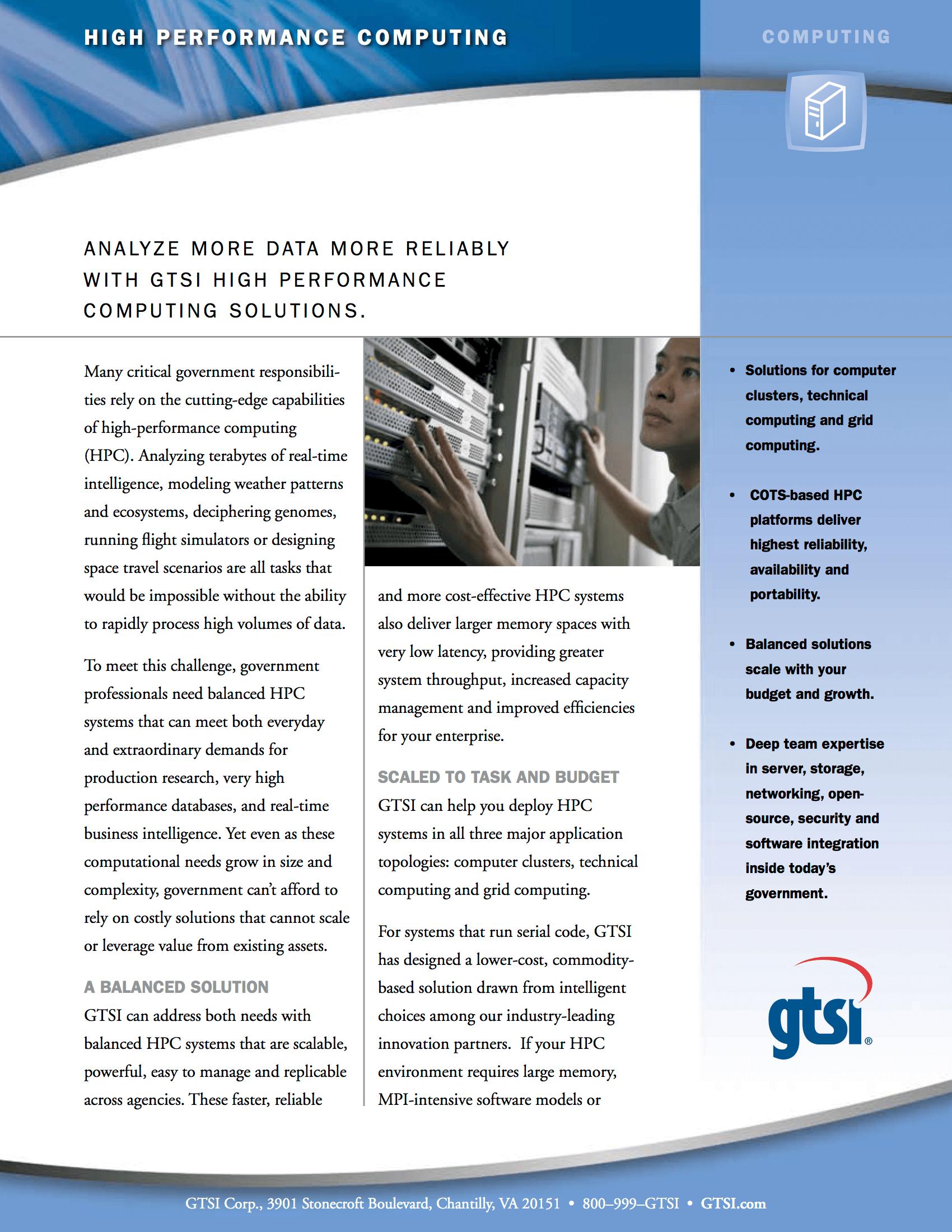 High Performance Computing data sheet