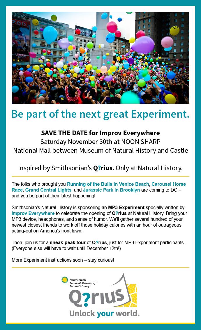 Secret invite to Improv Everywhere DC on Thanksgiving Saturday