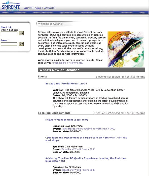 Sales intranet entry page