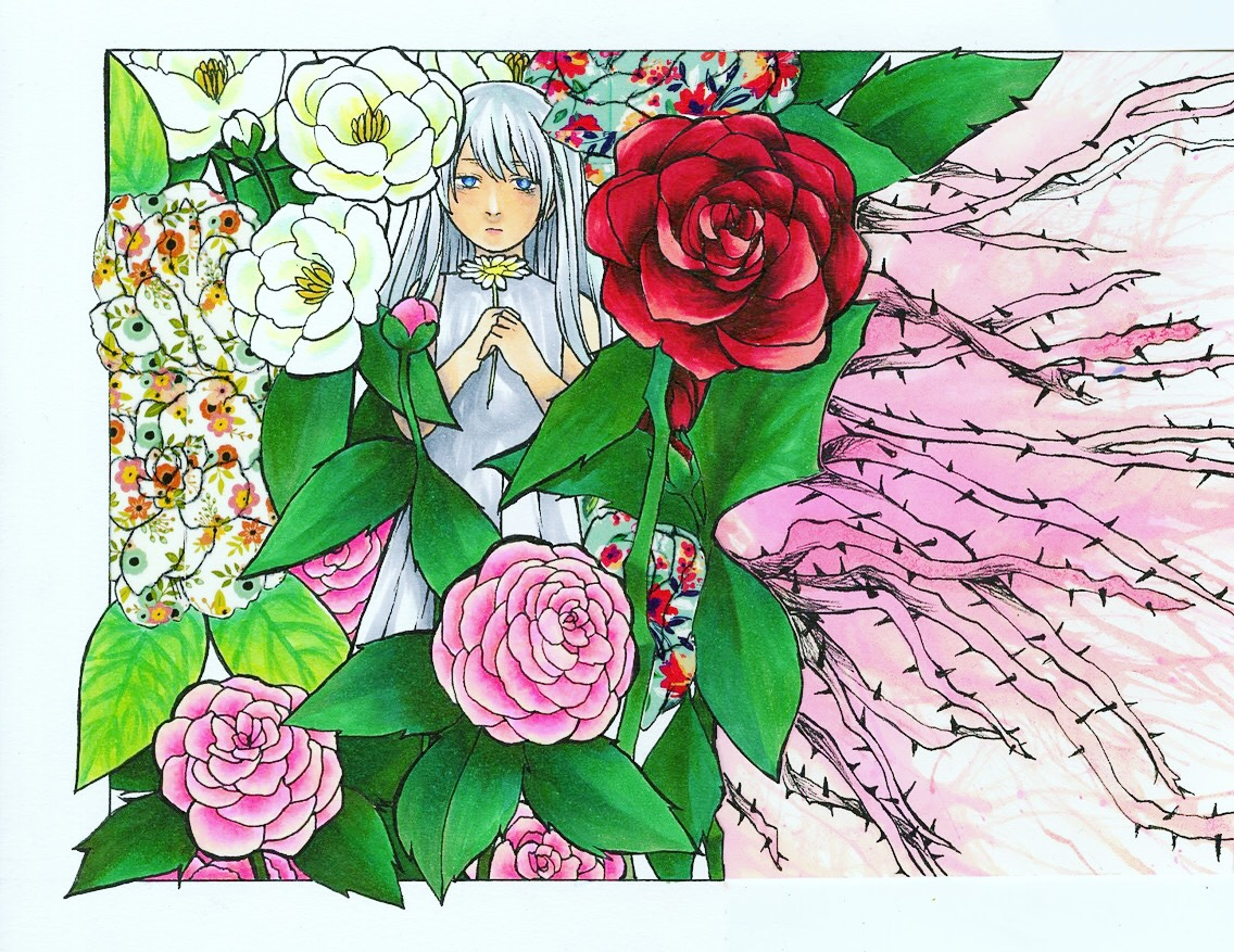She is holding a daisy, which represents innocence, and she is colored in monotone gray and surrounded by a myriad of vibrant, beautiful flowers. From her downcast expression, you can tell she feels inferior compared to all the other flowers, which shows how the pressures of others impact an individual.