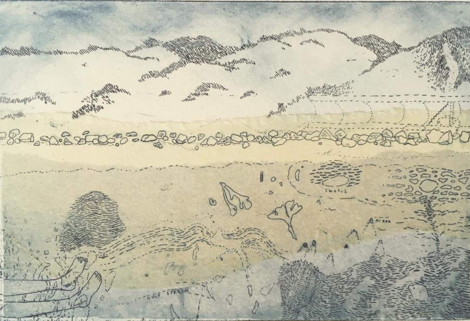2. Keziah Philipps, Sea Palling, copper etching with chin collé, 10cm x 20cm.png