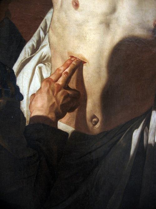 """""""The incredulity of St. Thomas"""" (detail) - Gerrit van Honthorst - 1620"""