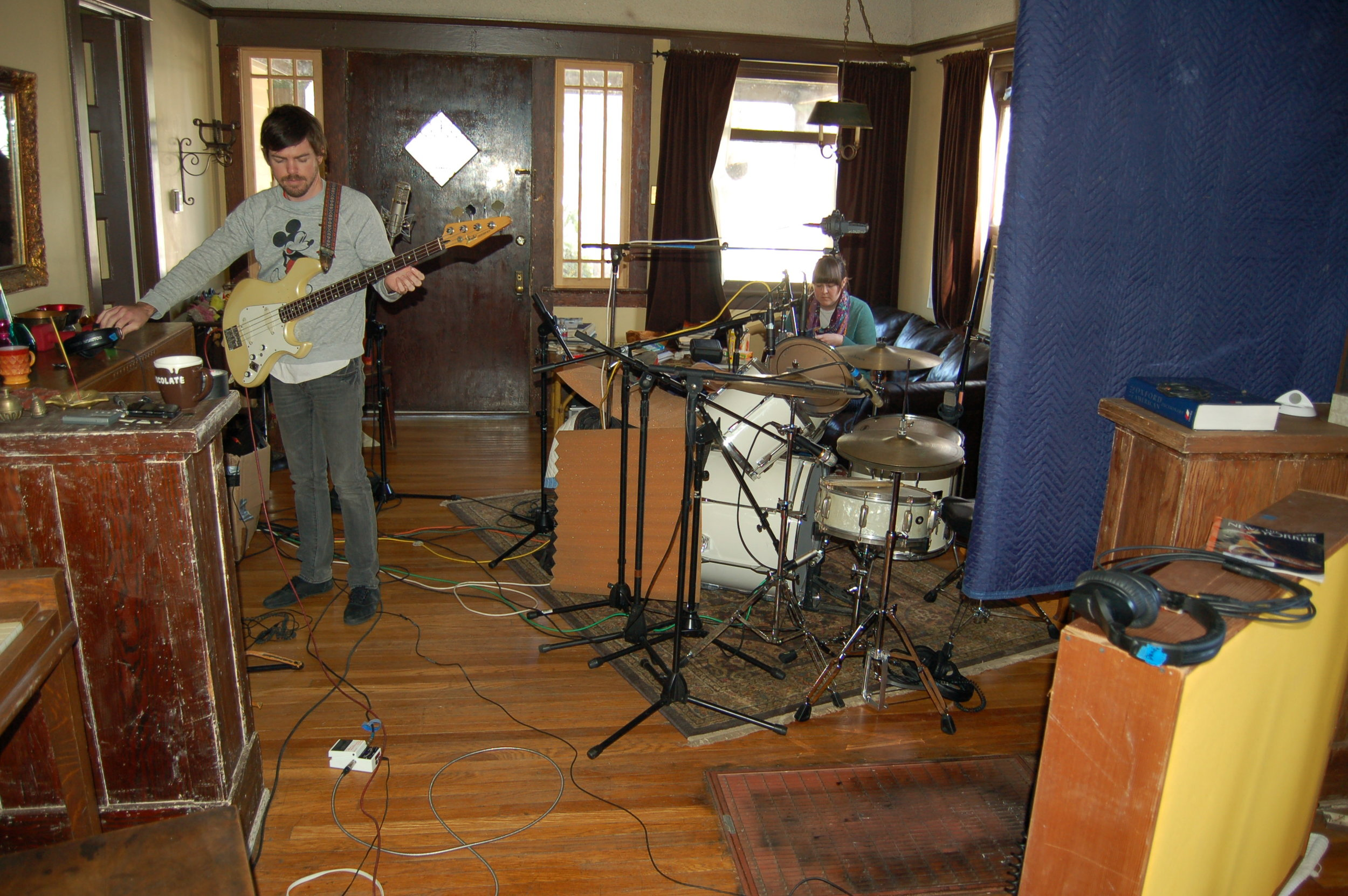 All these pictures of us recording are in David and Meredith's house in Highland Park.