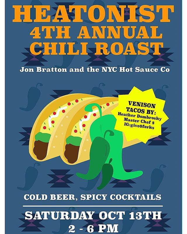 HAPPY FRIDAY beautiful people! I'm stoked to be part of the HEATONIST 4th Annual Hatch Chile Roast serving up some venison 🦌 tacos next Saturday 10/13 in Williamsburg, Brooklyn. Come and stuff your face with finger-licking venison tacos, munch on roasted primo Hatch green chilis 🌶 coming in from the southwest and imbibe on some spicy cocktails 🍹 and cold brews 🍺 . Come say 👋🏼 hi, check out the Heatonist's sick backyard 🤙🏼and taste their tasty AF hot sauces, and get to know thy neighbors. Get your tickets pronto, link in BIO! . . . . . #heatonist #venisontacos #venison #hotsauce #givezeroforks #give0forks #masterchef #weekendfood #nychotsauce #hotsauce #cheflife #chef #hatchgreenchilis #foodfamily #misenmade #anoloncookware #cookingtogether #instayum #foodporn #food52 #thefeedfeed #williamsburgbrooklyn #foodislove #wontyoubemyneighbor #eatyourfaceoff
