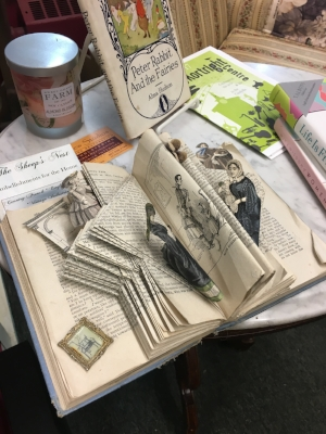 Book art and collectible volumes at Hobart Book Village