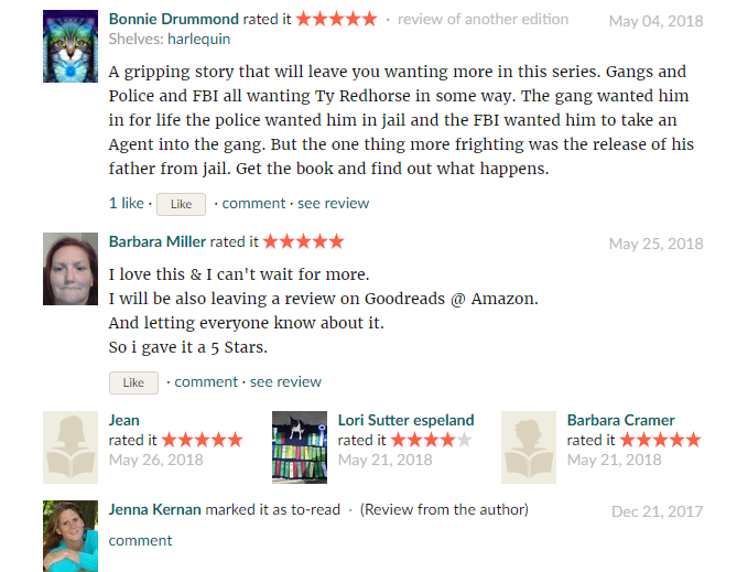 Reviews on  GoodReads  the day before the release of  BLACK ROCK GUARDIAN