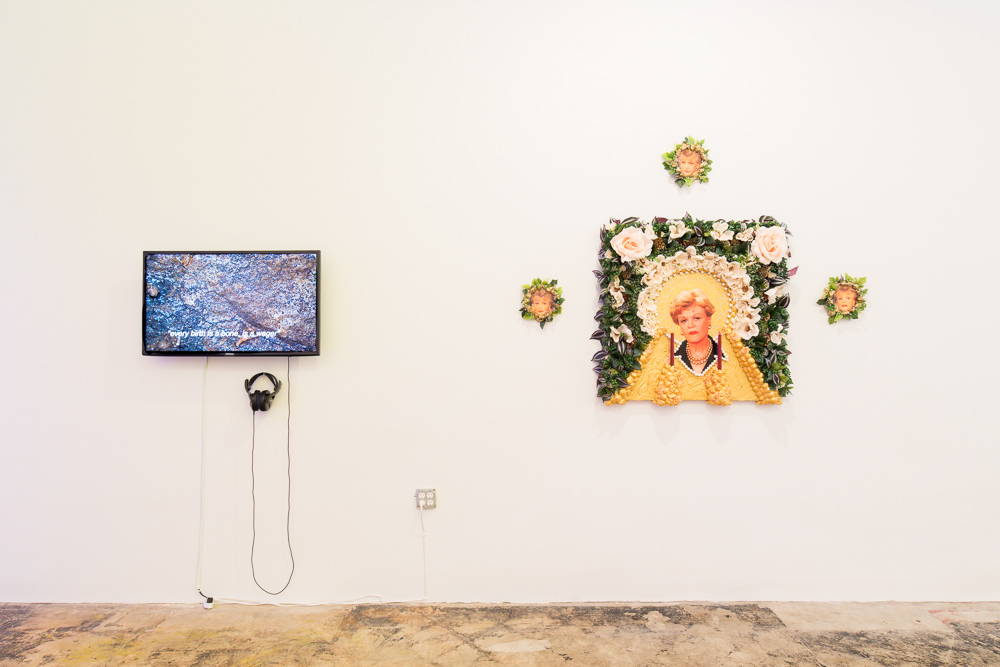 "Installation view of works by Hannah Black and Brice Peterson in ""2 Freaky 2 Friday"" at Pelican Bomb Gallery X, New Orleans. Photo by Roman Alokhin."