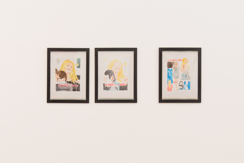 "Installation view of Jennifer Mills'  Tabloid Series #1–3 , 2012, in ""2 Freaky 2 Friday"" at Pelican Bomb Gallery X, New Orleans. Courtesy the artist. Photo by Roman Alokhin."