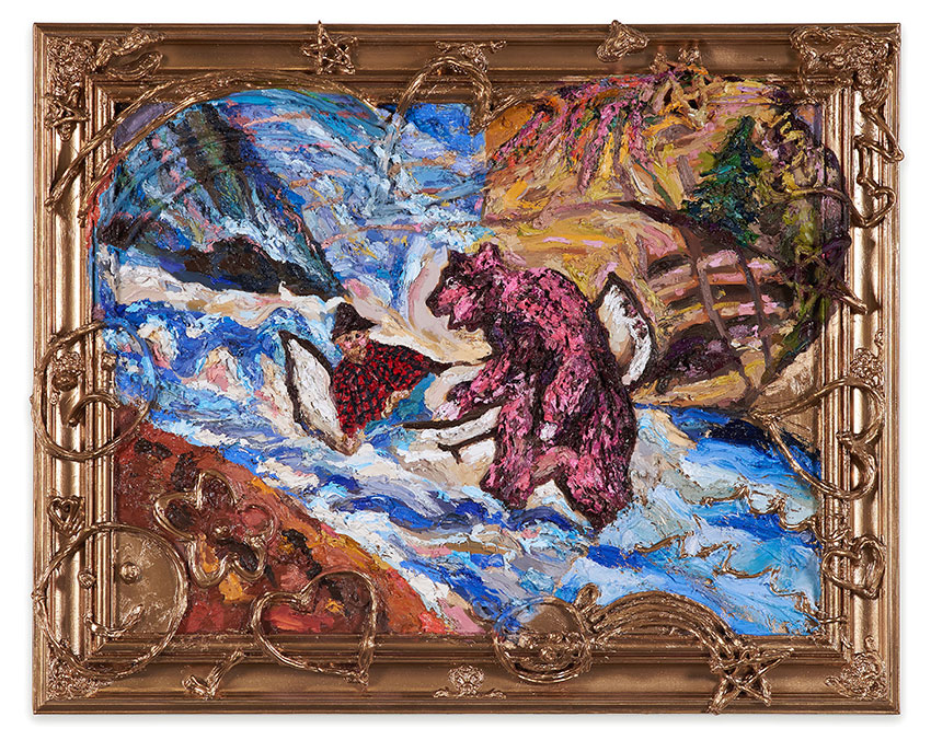 Rose Coloured Grizzly Attack (after Gladys Johnston)