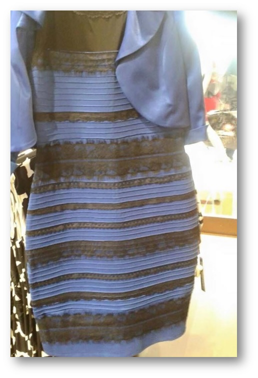 The dress. It's white and gold by the way. Clearly.