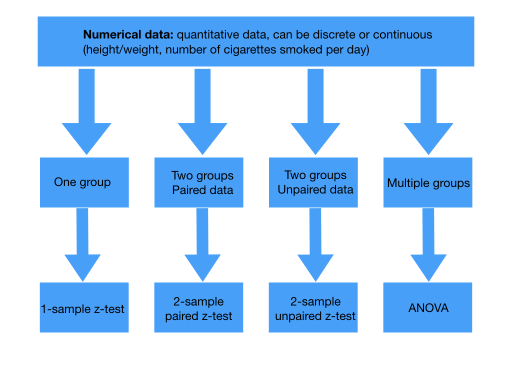 Tests for the test statistic in numerical data. Paired data arises from the same individual at different points in time while unpaired data comes from separate individuals. T tests are used if the sample is small or if population standard deviations are not known.