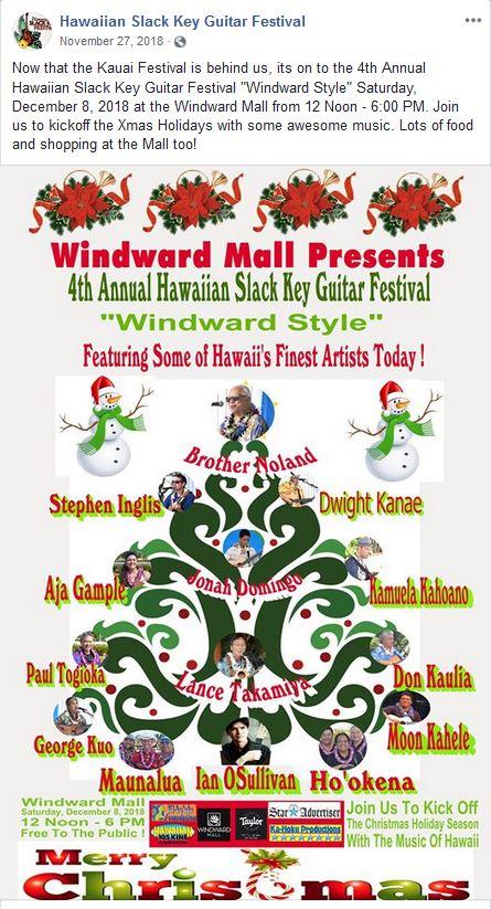 - Windward Mall Slack Key FestivalDec 8, 2019