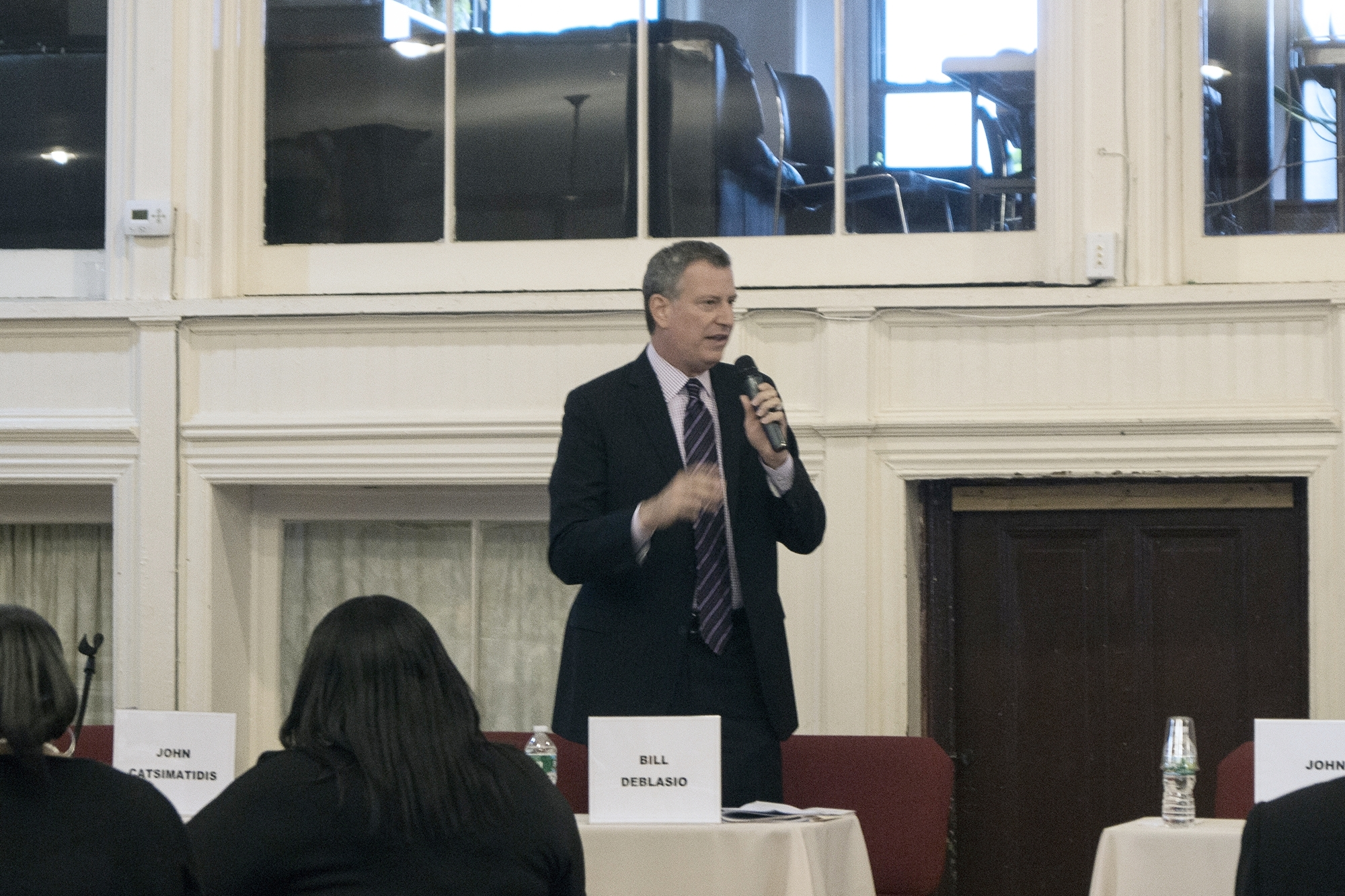 Then-candidate Bill DeBlasio speaking at the Second Legislative Forum.
