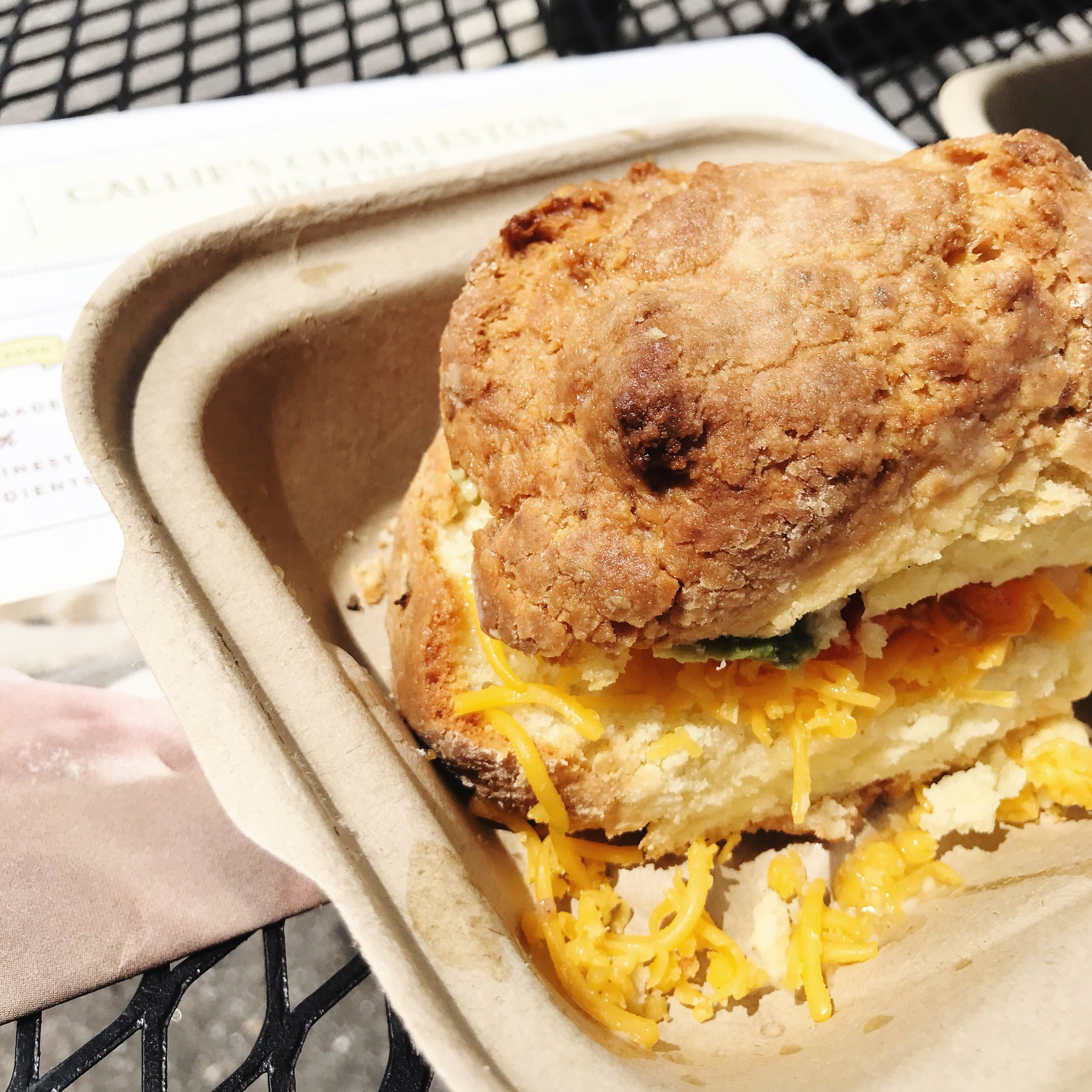 A breakfast biscuit sandwich from Callie's Hot Little Biscuit.