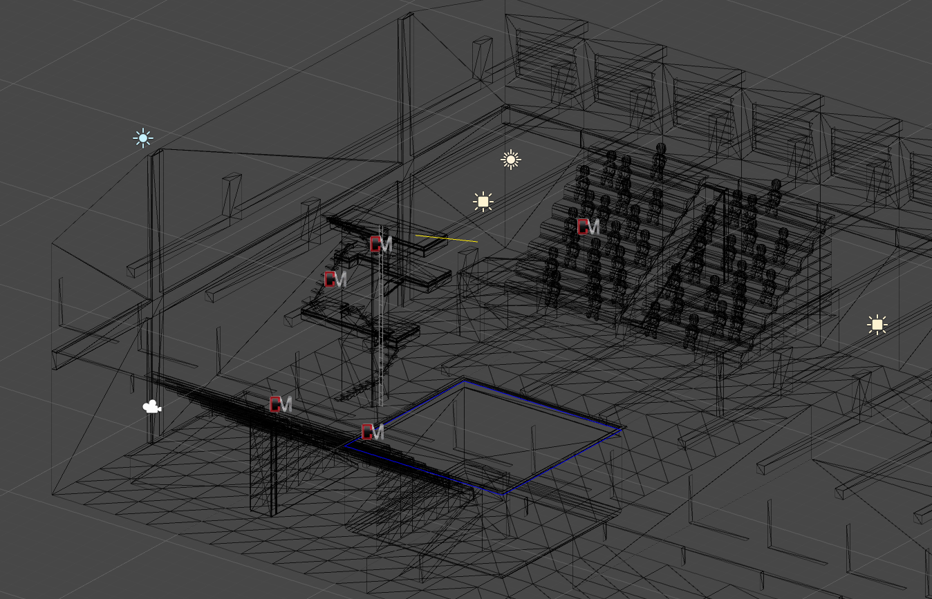 wireframe view of the diving set