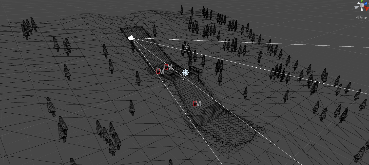 wireframe view of the aerial skiing environment