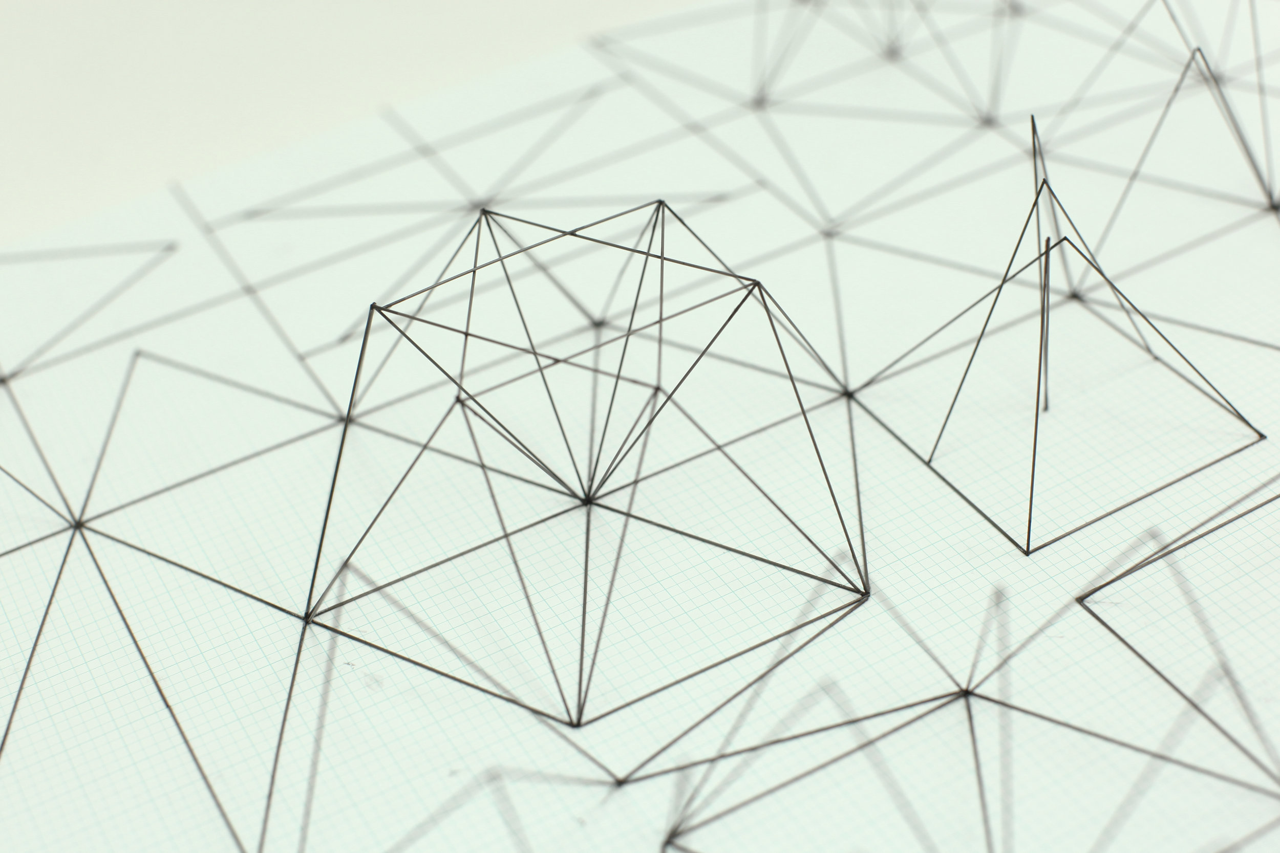 Space Sketch 1 (Detail) / 2011 / Mechanical pencil lead refill, Graph paper / 54x78x15 cm