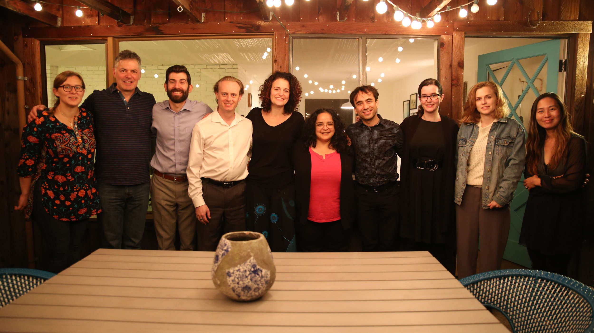 Left to right: Bonnie McLarty, Steve Juliani, Jonah Sirota, Greg Beaver, Becca Fischer, Gabriela Frank, Iman Habibi, Jessica Hunt, Beatrice Ferreira, Hyeyung Yung