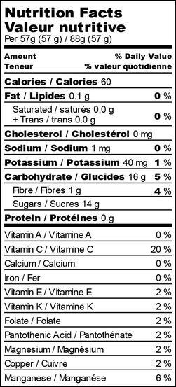 Nutrition facts for raspberry raven lemonade freezies