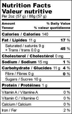 Nutrition facts for coconut kiala café latte freezie