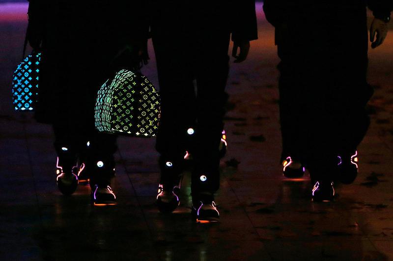 Louis Vuitton SS19 Accessories by Virgil Abloh using Fiber Optic lights that change color