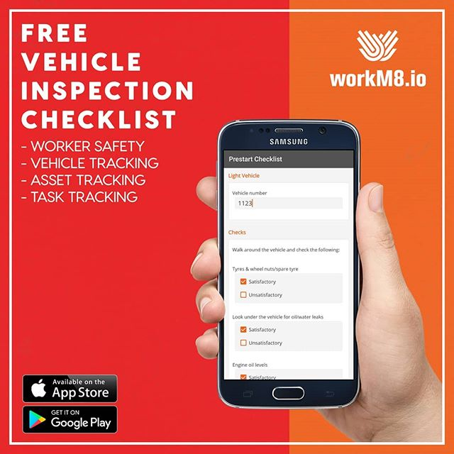 Free vehicle pre-start inspection checklist app!  Vehicle fleet management has never been so simple. Paperwork is a thing of the past thanks to our easy to use mobile app which processes data digitally in real time meaning no more annoying paper work, just real data - real fast. Not only is WorkM8's integration simple but its also cost effective using Mobiles & Tablets already used in the field by staff.  Claim your free digital pre-start inspection checklist now: https://www.workm8.io/special-offer