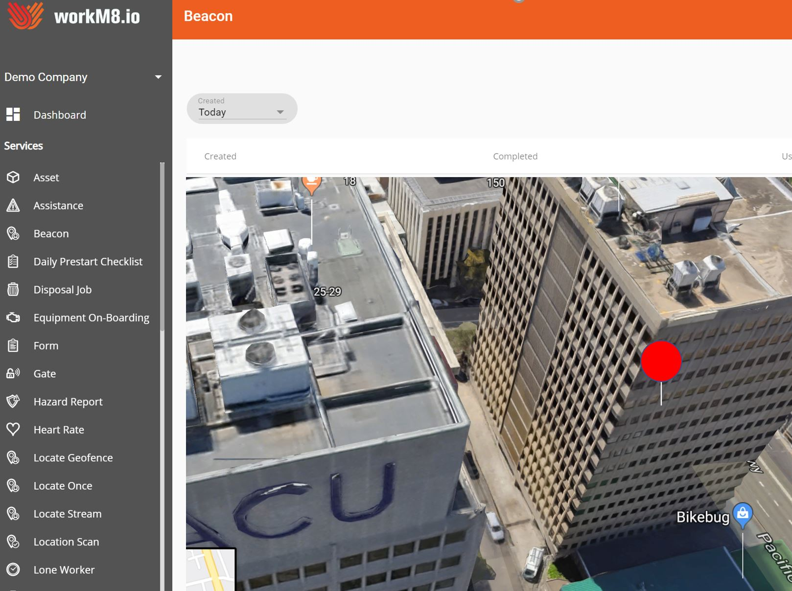 In Building Location using workM8 Bluetooth beacons