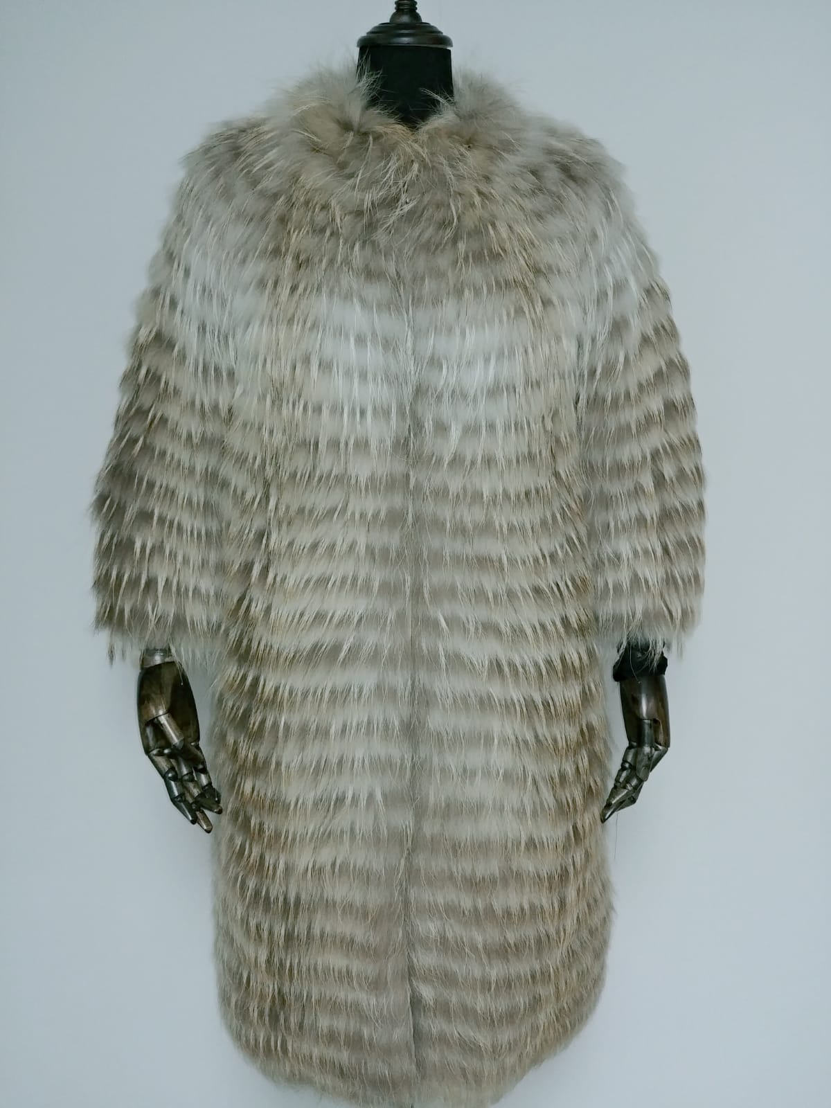 ST52346V - 90cm Arctic Finland Raccoon Zip Coat with 10% cashmere knit base Original price US$800, special price: US$320