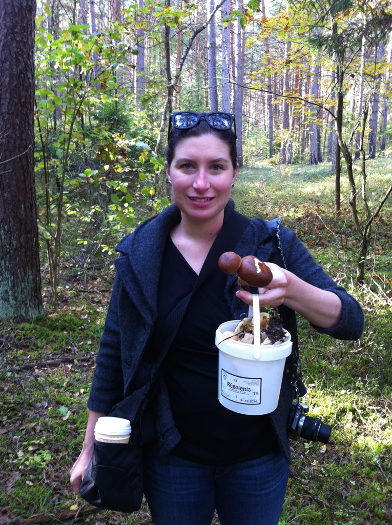 Learning how to pick mushrooms in Lithuania.