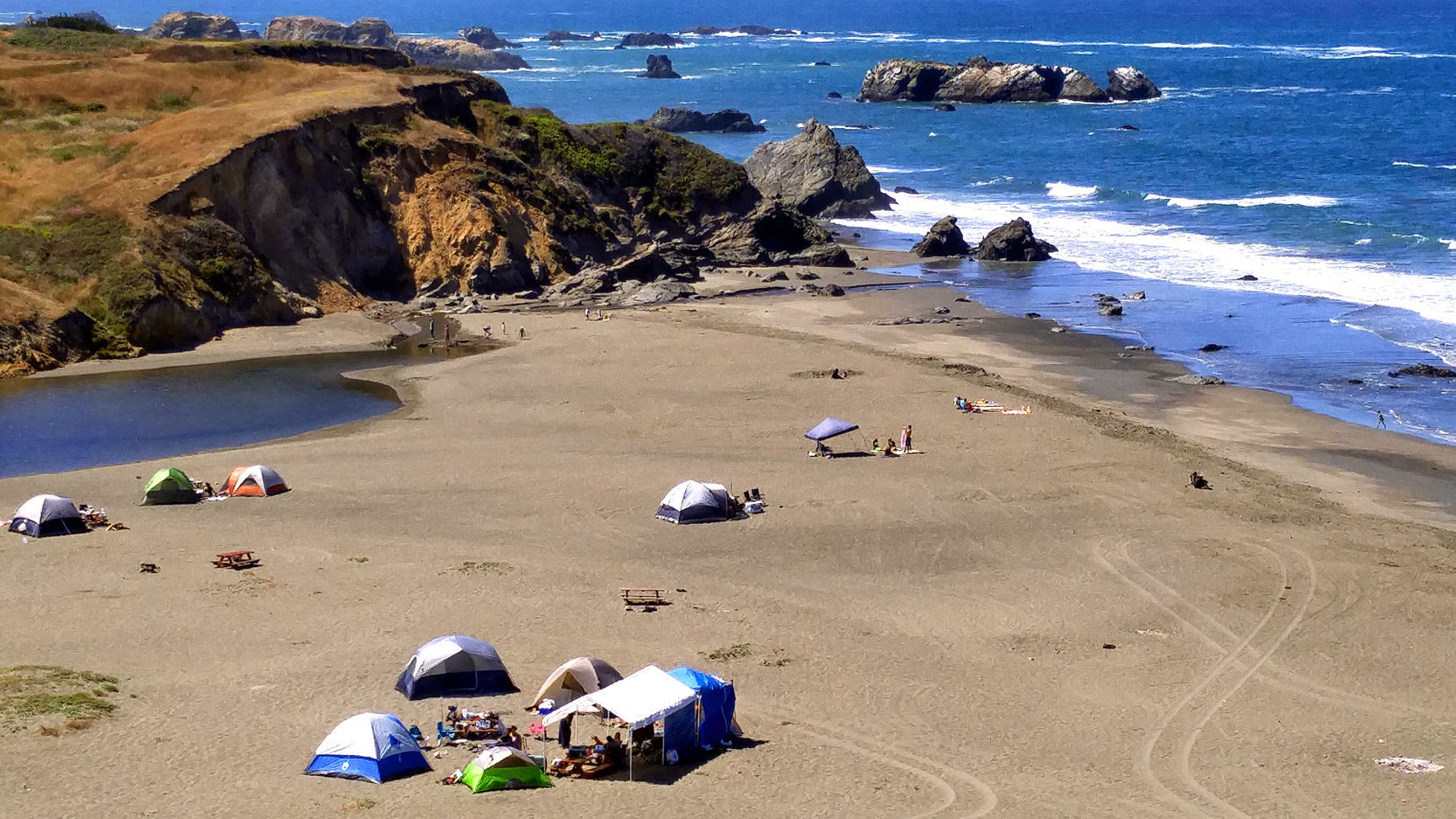 Camping on the beach at Wages Creek, north of Fort Bragg CA. Photo: Mary Charlebois