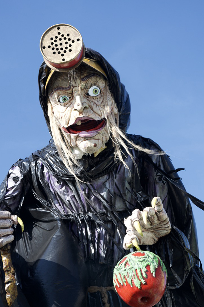 This witch was from an awesome float about how trash and waste is polluting food and nature. Much of the float was made from trash.