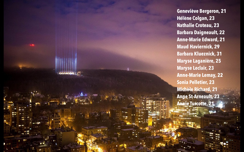 Commemorating the 25th anniversary of    École Polytechnique massacre    in Montreal, the 14 beams of light on    Mount Royal    represent 14 women murdered for daring to study engineering. Image Rémi St-Onge, Moment Factory; names added by Artists of the Aurora.