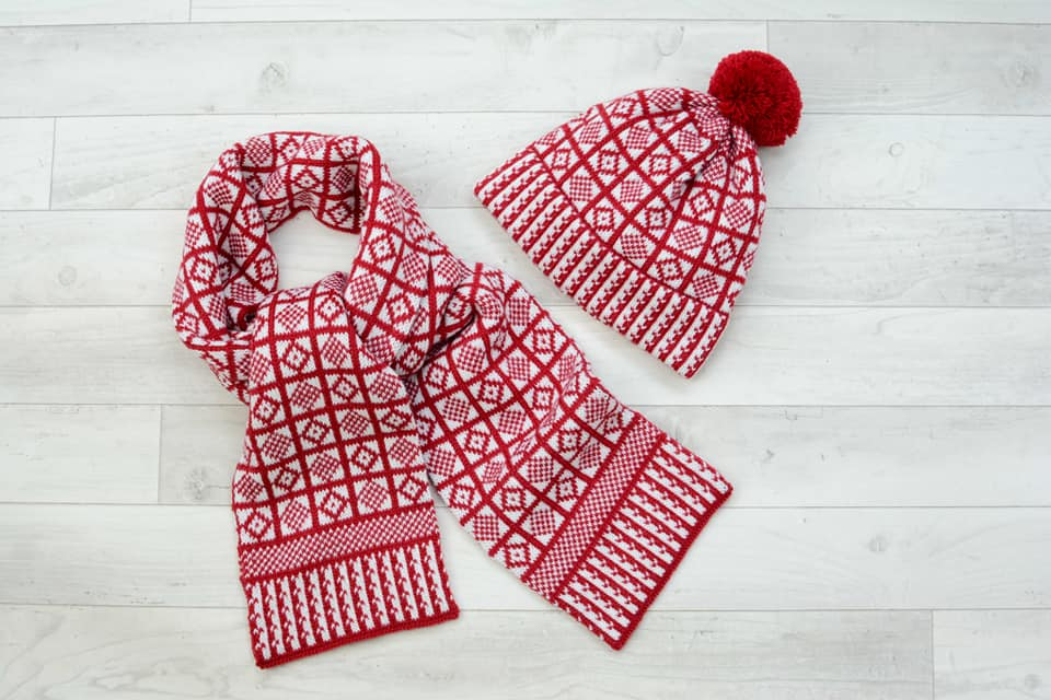 Merino blend cranberry red and white hat and scarf set in Sanquhar Pattern Duke.