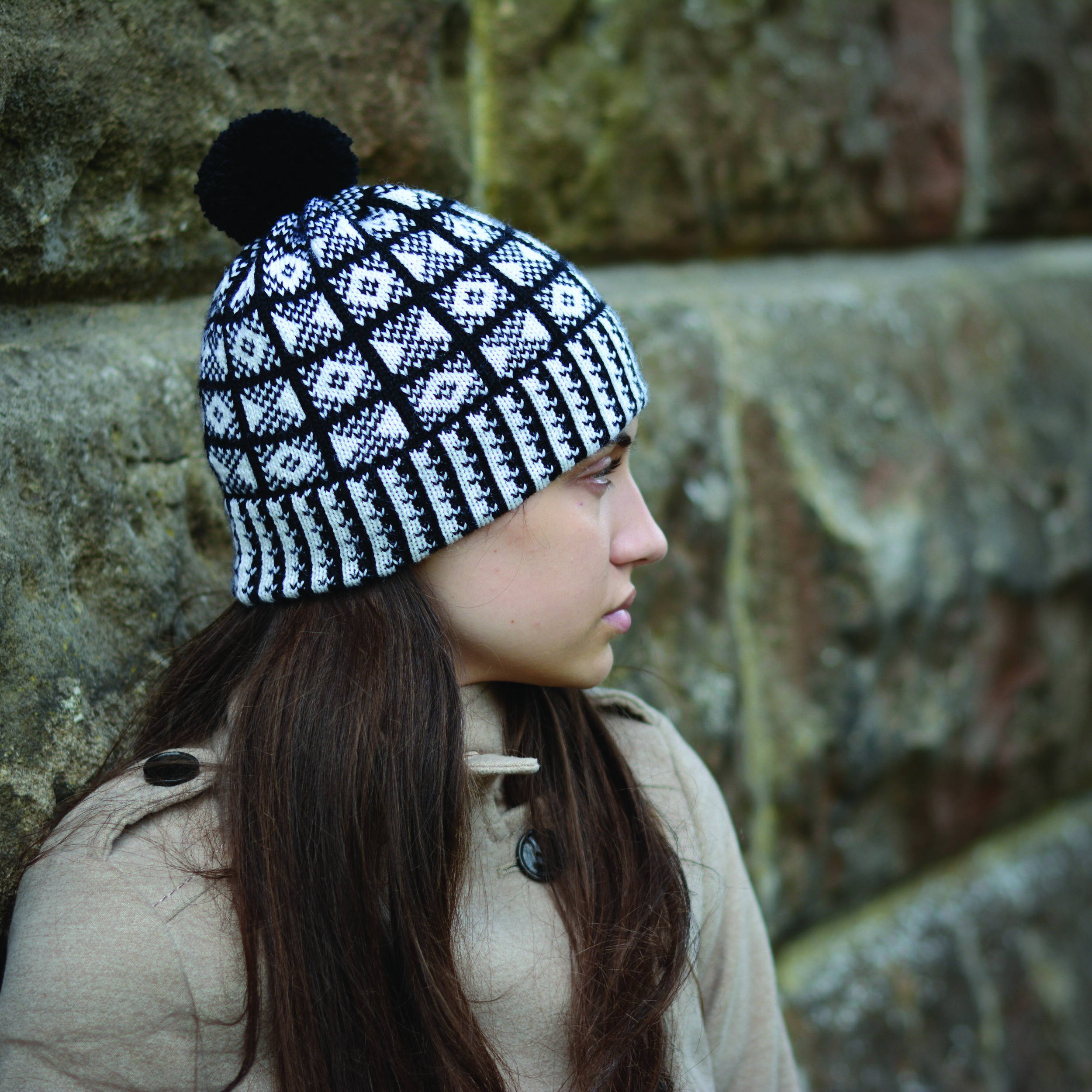 Adult hat in black and white Sanquhar Pattern Coronet and Drum - by Sanquhar Pattern Designs