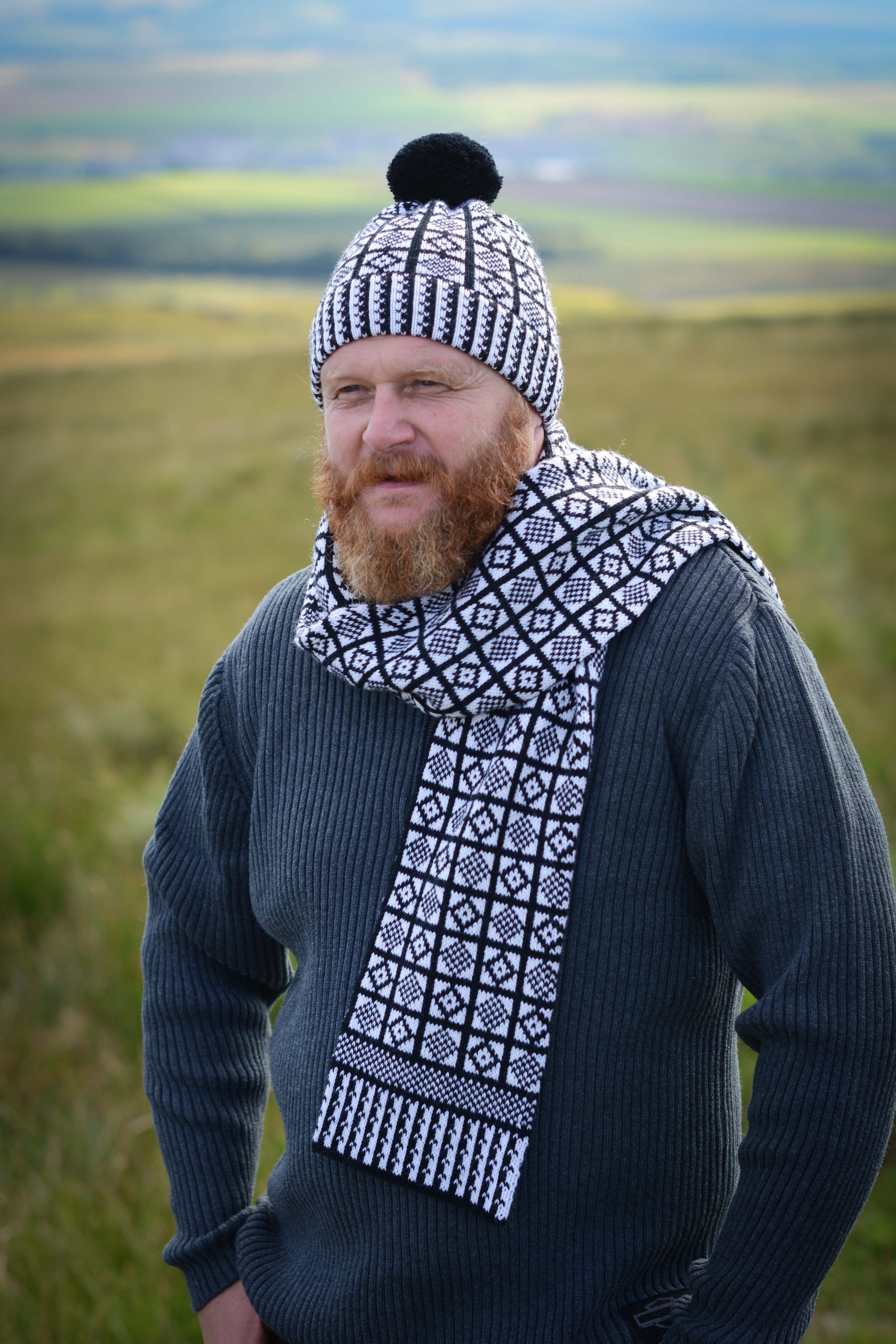 Merino blend hat and scarf in black and white Duke pattern.