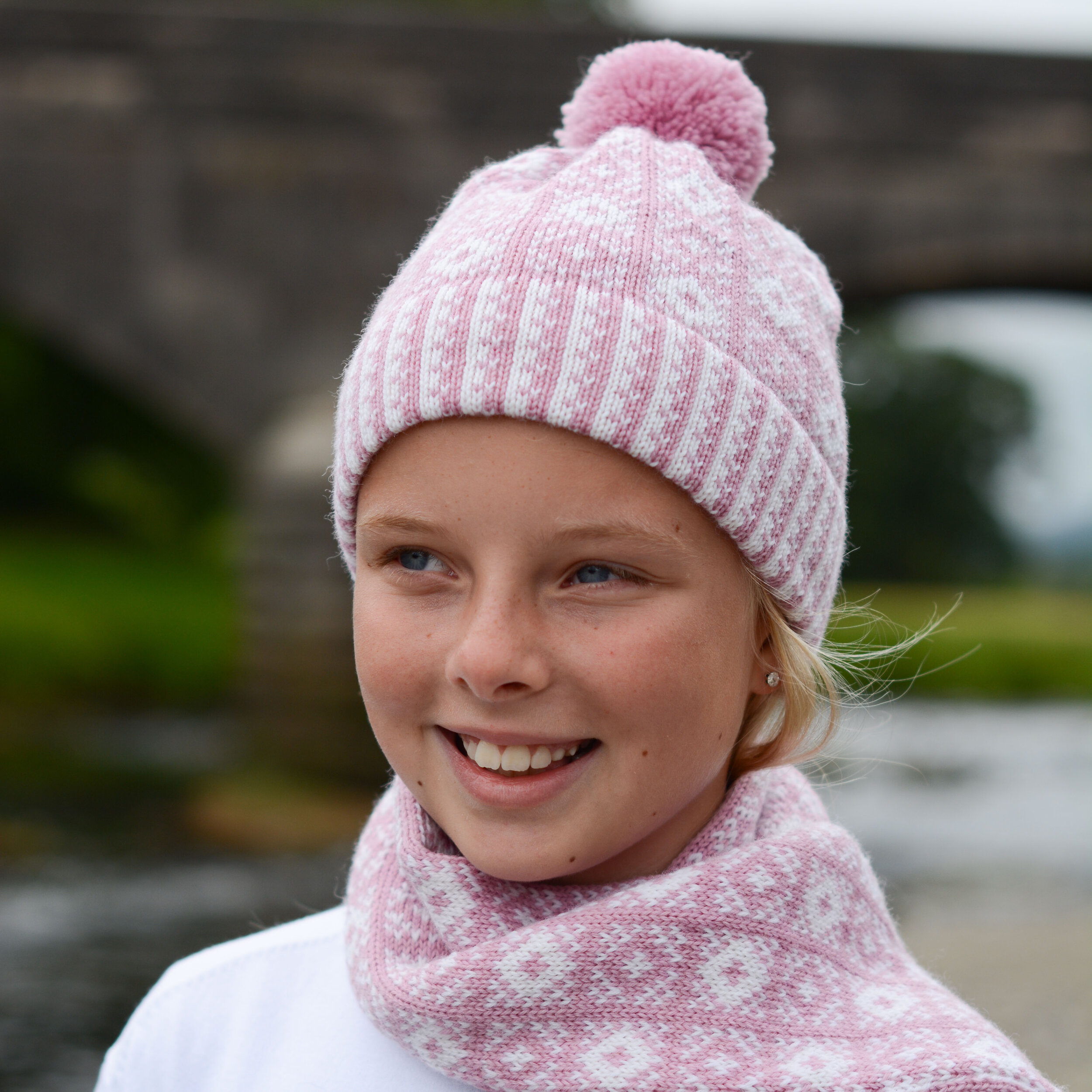 Child hat and scarf in pink and white Rose pattern - made by Sanquhar Pattern Designs
