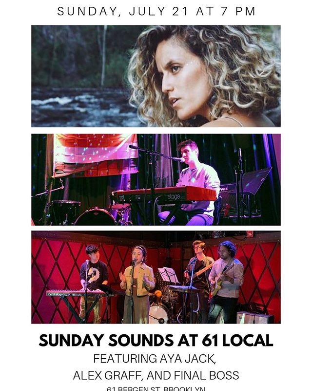 Hi friends! 7/21 at @61local gonna be playing @sundaysounds61 !! With @nadiapinder @soyoucomehereoften @paul.bloom @treebeardjazzman @nicvivasnik !  Will be sharing the bill with the amazing @iamayajack and @finalbossasmr 🤟🏼🎵 Thank you to @joshtheword for having me ❤️