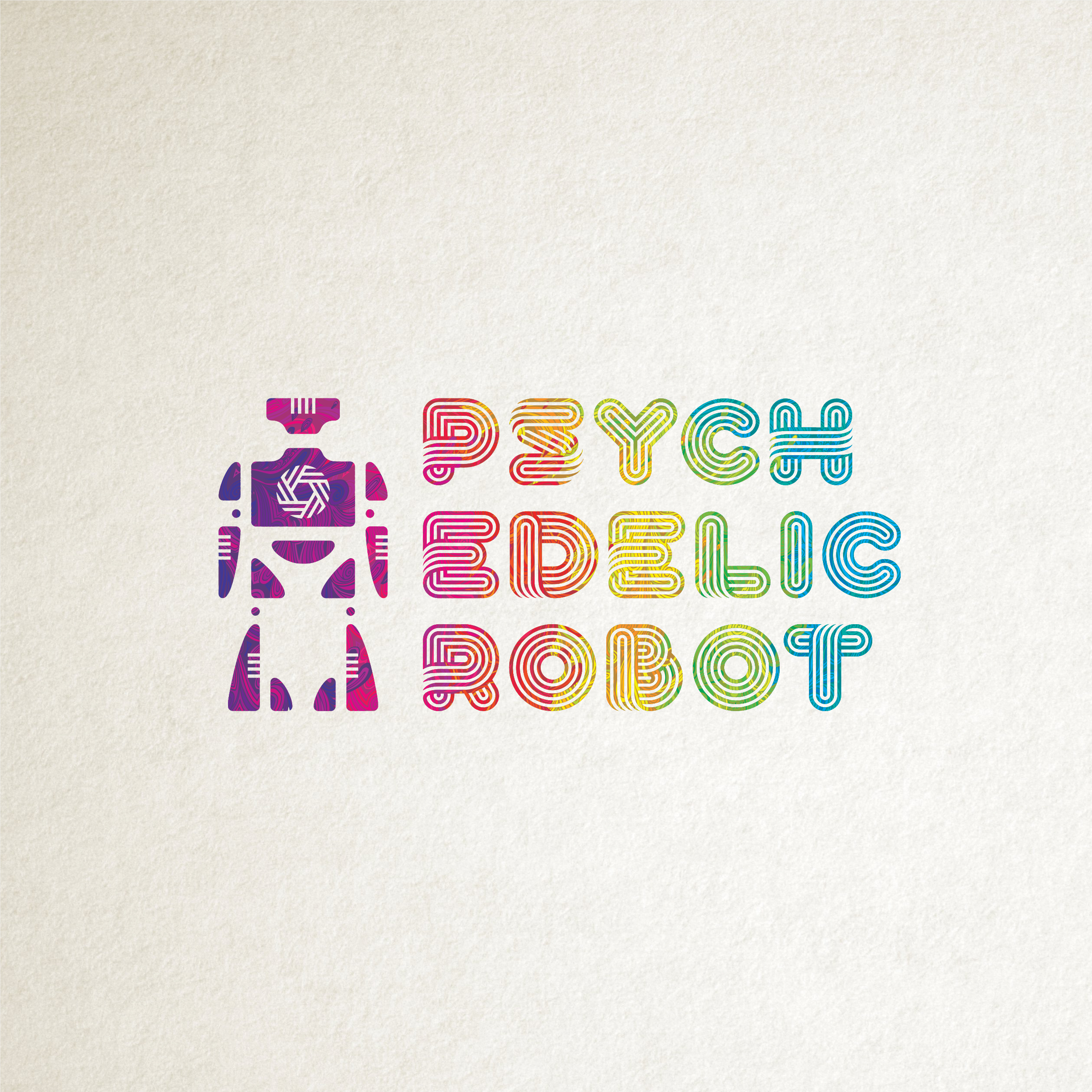 Psychedelic Robot multi-colored logo