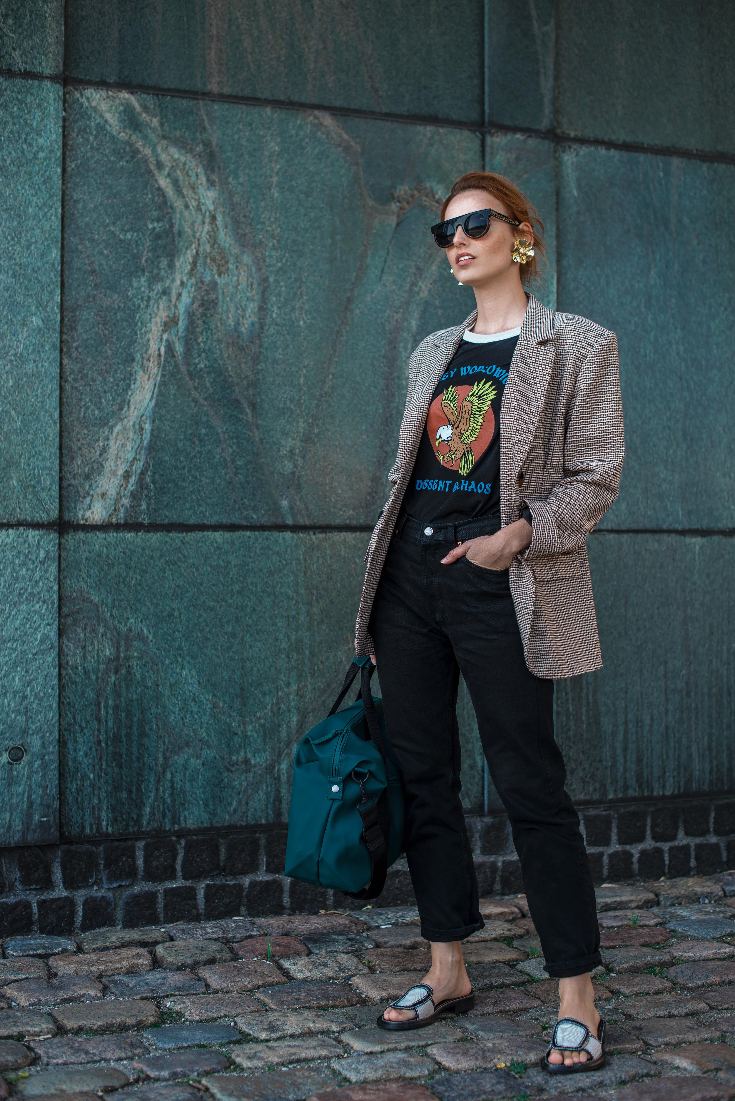 Zara blazer // Obey t-shirt // Levi's jeans // Acne Studios shoes // Rains bag // Komono sunnies