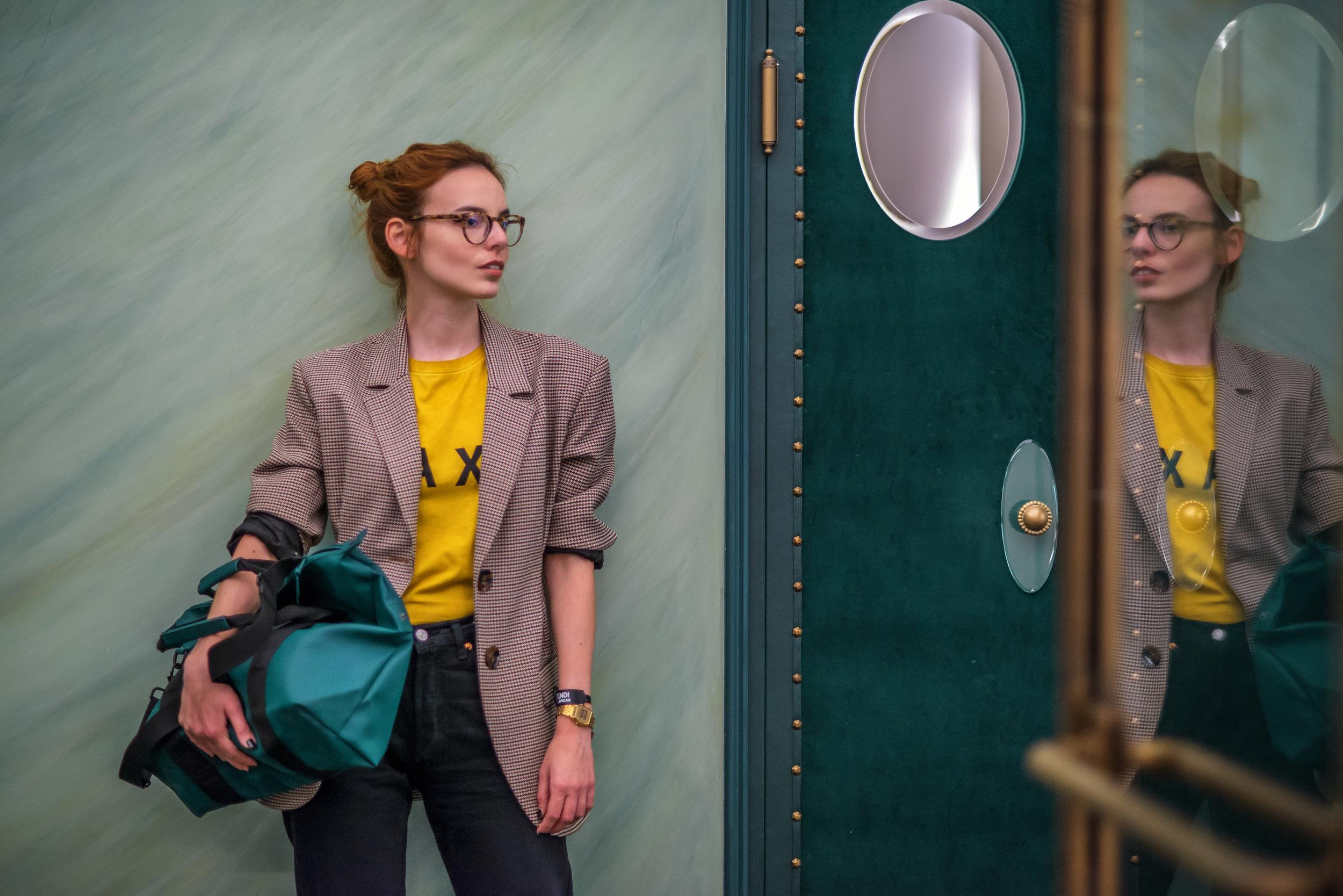 Zara blazer // Compania Fantastica t-shirt // Rains bag