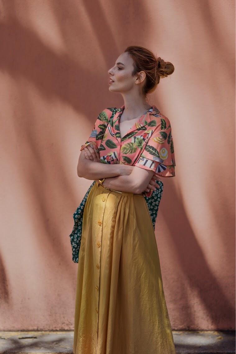 Mango shirt // vintage skirt // Ganni bag