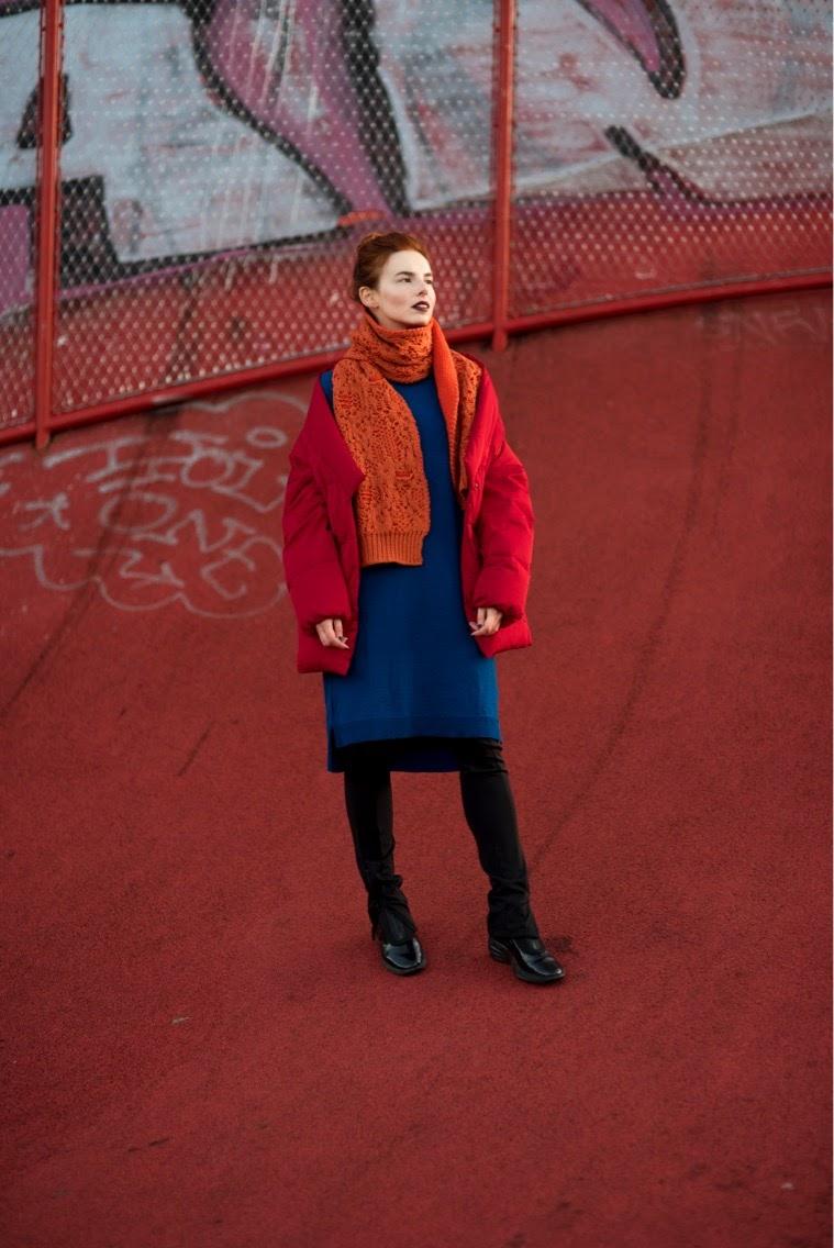 Acne Studios scarf // Mads Norgaard dress // Mango jacket // H&M pants // NIke shoes