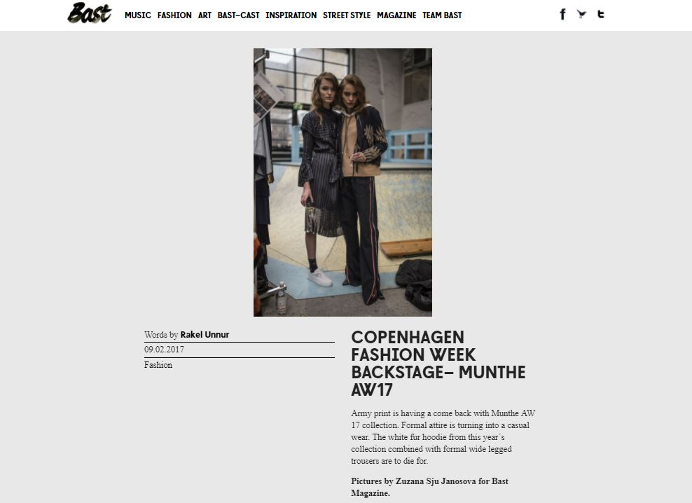 BAST Magazine - Munthe AW17 Backstage