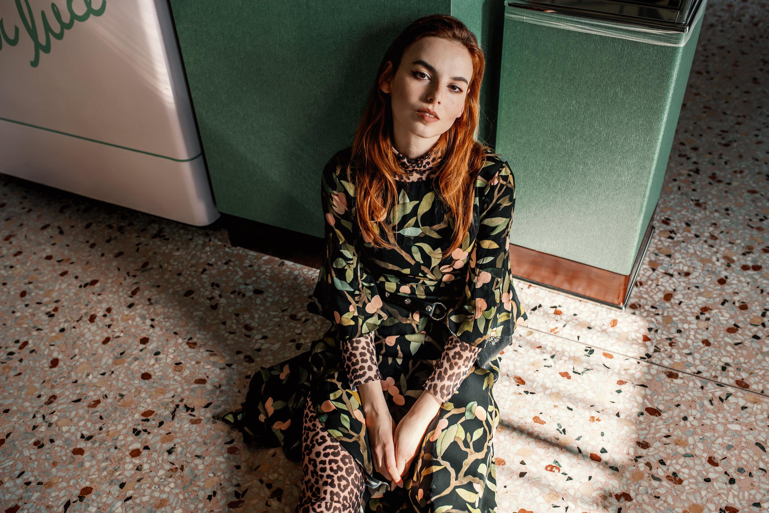 Vivien Babicova bag // Stine Goya dress // Ganni turtleneck and leggings