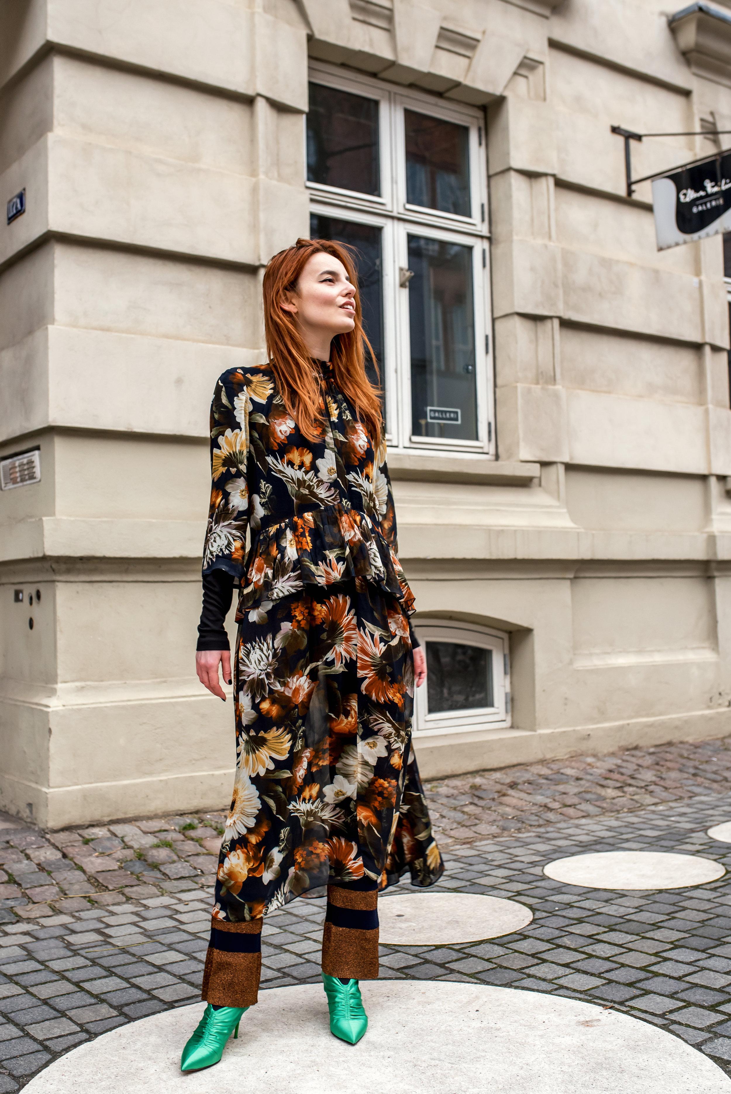 Gestuz dress // Baum unf Pferdgarten pants // Zara heels