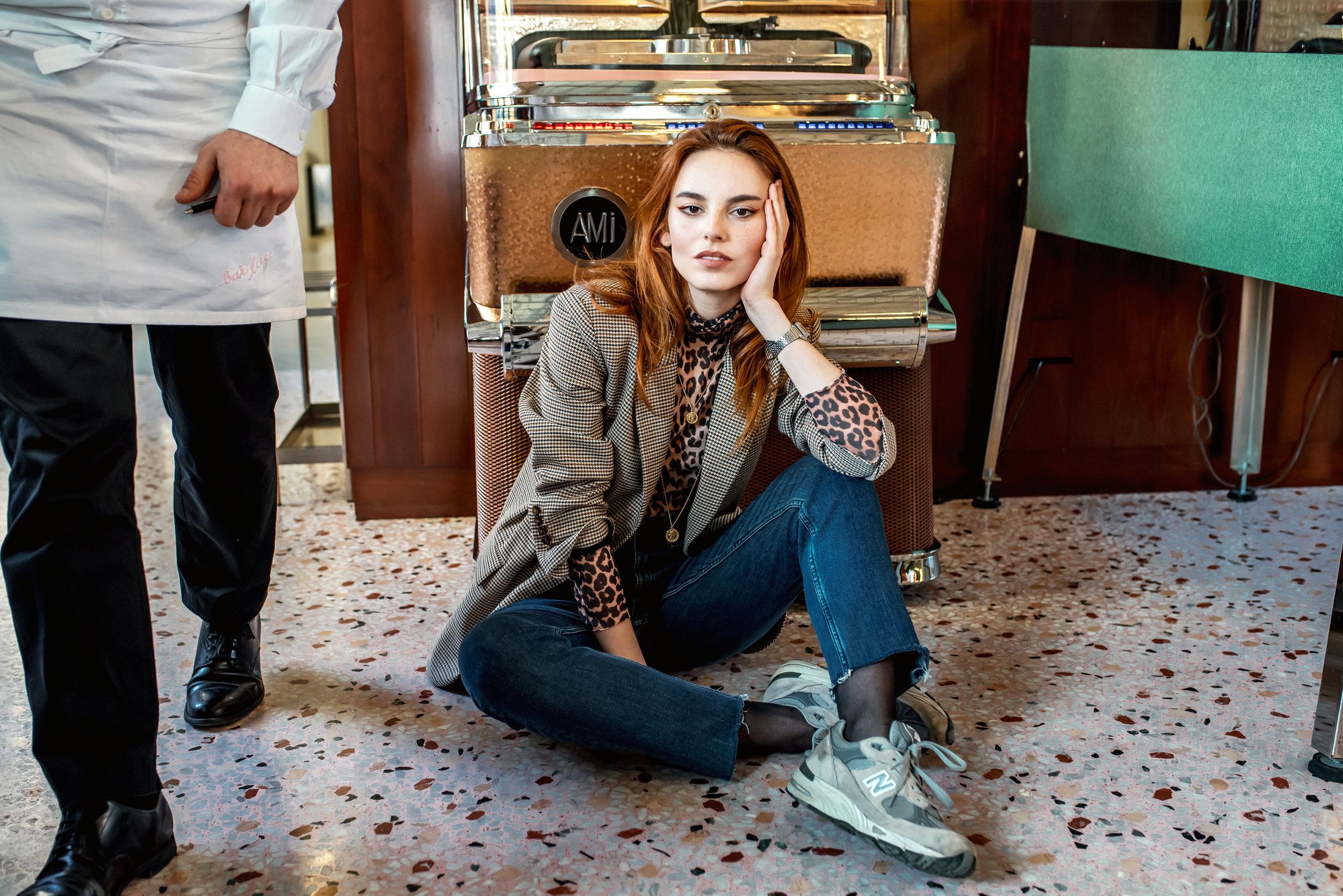 Ganni turtleneck // Zara blazer // New Balance sneakers