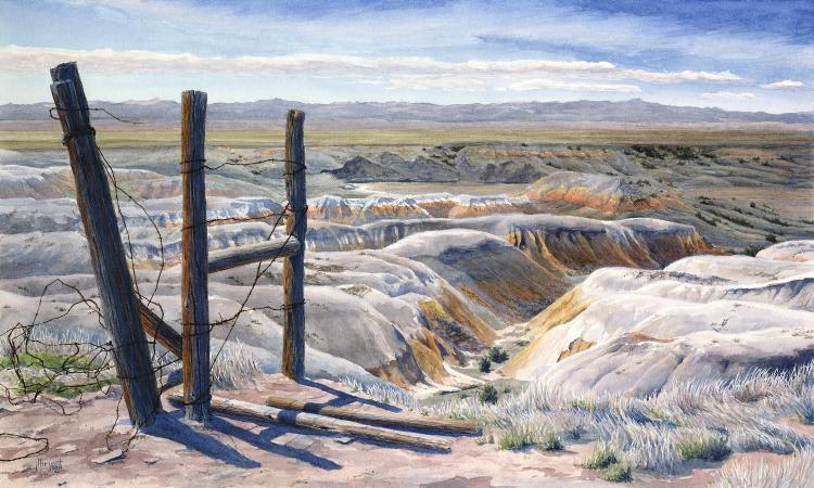 "Cedar Creek from Blindman Table  watercolor : 12 x 20"" : print $150 : original sold"