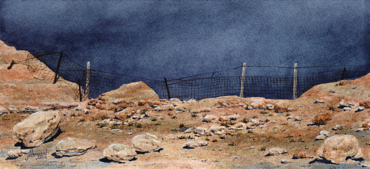 "Boundary at the 505  watercolor : 5.5 x 12"" : print $50 : original available"