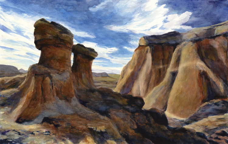 "On the Rocks: Above Calhoun Canyon  watercolor : 18 x 28.75"" : print $315 : original available"
